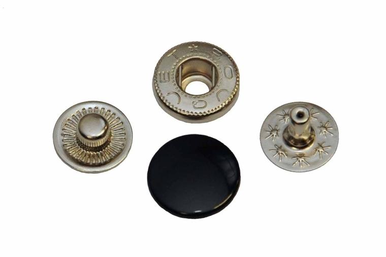 Leder drukknopen Zwart 12mm dia (10 sets)