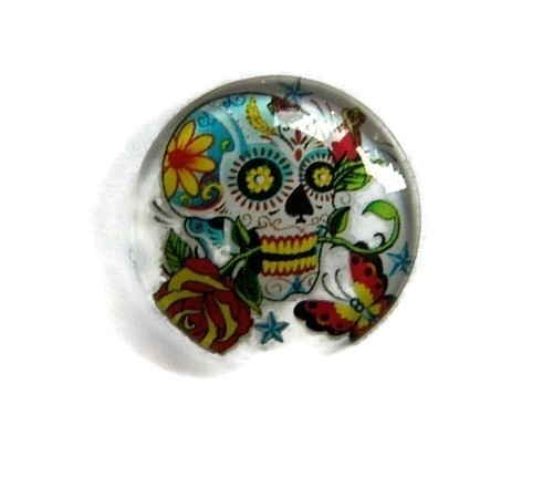 Sugar Skull 001 20mm Glas Cabochon Rond