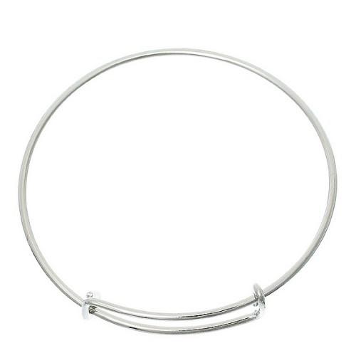 Bangle Antiek Zilver voor bedels 7cm diameter