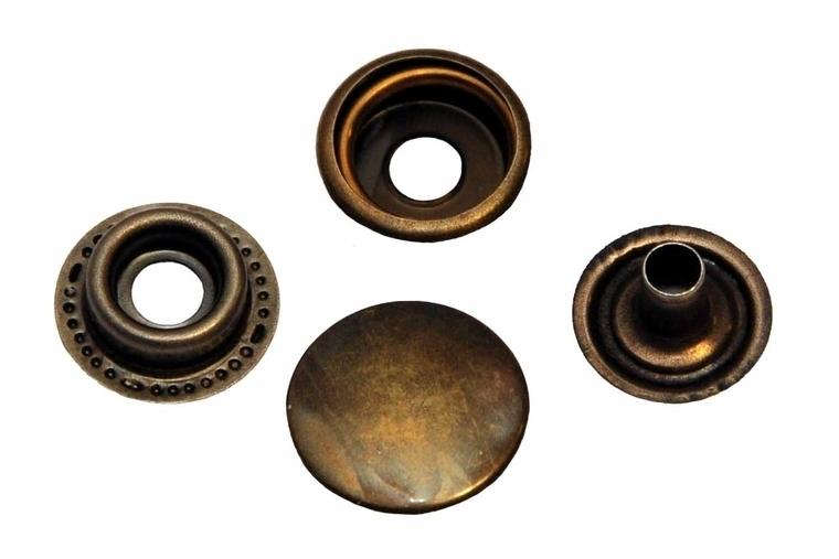 Leder drukknopen Brons 15mm dia (10 sets)