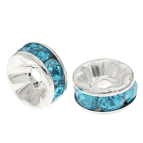 Rhinestone rondelle spacers Aqua Blauw 8mm (10 st.)