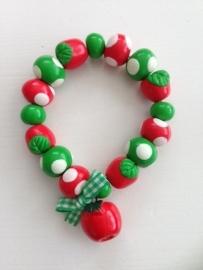 Fimokralen rood groen wit met appeltjes