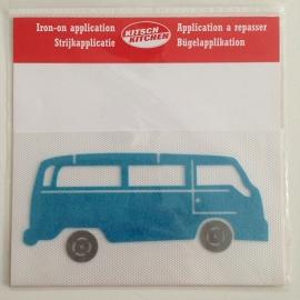 Strijkapplicatie vintage VW bus blauw