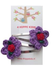Haarspeldjes met paarse bloem