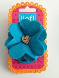 Lief! vilten bloem turquoise
