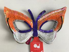 Vlinder masker met lovertjes oranje wit en paars