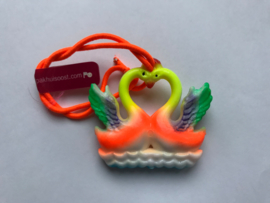 Haarelastiek oranje zwanen met oranje elastiek