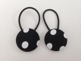 Haarelastiekjes met zwart met witte stippen