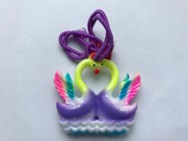 Haarelastiek paarse zwanen met paars elastiek