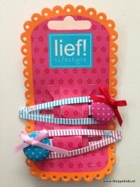 Lief! clic clac XL knoop roze blauw