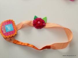 Lief! haarband oranje met grote rozet