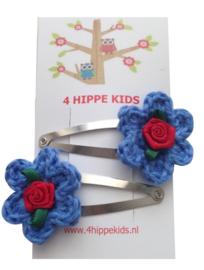 Haarspeldjes met blauwe bloem