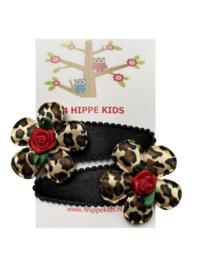 Zwart met bloem luipaard print en rood roosje