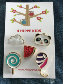 Set van 5 pins wolk, panda, meloen, lolly en ballon Kids
