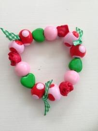 Vrolijk armbandje roze, rood en groen