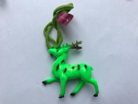 Haarelastiek groen hert met groen elastiek