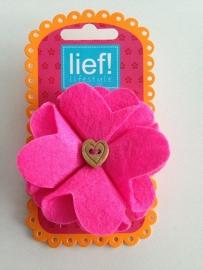 Lief! vilten bloem roze