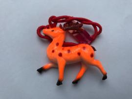 Haarelastiek oranje hert met rood elastiek