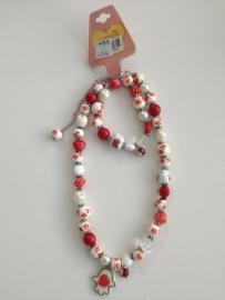 Saartje ketting met armband rood / wit