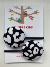 Haarelastiekjes panterprint zwart / wit