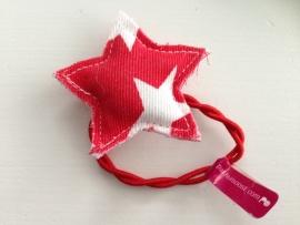 Haarelastiek ster rood met witte sterren