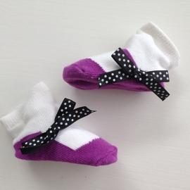 J.i.P ballet sokjes paars wit
