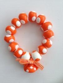 Fimokralen oranje met wit en theepotje