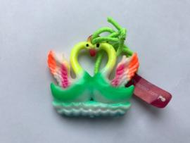 Haarelastiek groene zwanen met groen elastiek