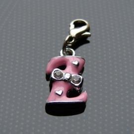 Charm bedel roze - letter Z
