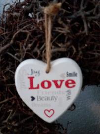 Houten tekst hanger S 9cm Joy Smile Love...