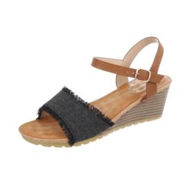 Zwart/Cognac sandalen met sleehak maat 36