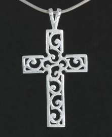 Zilveren kettinghanger bewerkt kruisje | 3326