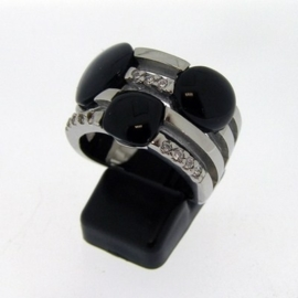 Stainless Steel ring | onyx, zirkonia mt. 16,5 / 17 mm