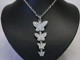 Trendy lange vlinder ketting met stras | VK01