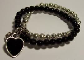 Leuk elastisch kralen armbandje zwart | 280 NIEUW