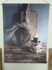 Wanddoek landelijk velours 81x63cm oude snijplank