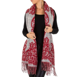 Sjaal/omslagdoek van Holala red/grey