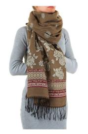 Prachtige sjaal met franjes taupe