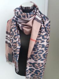 Warme Luxe sjaal met tijgerprint beige (503)