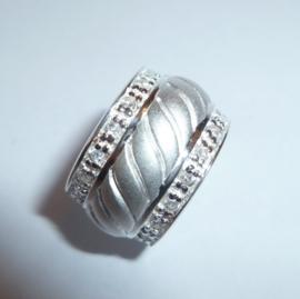 Zilveren kettinghanger ring met zirkonen | KH012