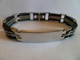 Rubber/edelstalen armband met plaat 21cm | HA17