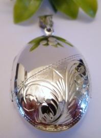 Zilveren Medaillon BIG half bewerkt 3,5x3cm | 2090