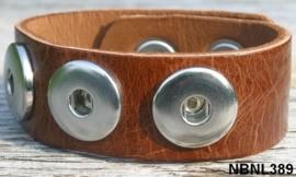 Leren Clicks armband cognac 22 cm | 407