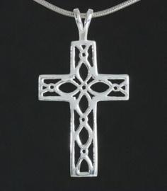 Zilveren kettinghanger bewerkt kruisje | 3325