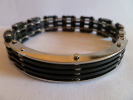 Rubber/edelstalen armband 20cm | HA11