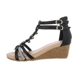 Zwarte sandalen met sleehak maat 36
