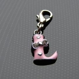 Charm bedel roze - letter L