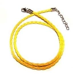 Gevlochten ketting - geel - 45 cm
