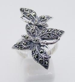 Prachtige zilveren ring Vlinder 16mm