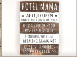 Tekstbord hotel mama naturel/Antique 40x30cm